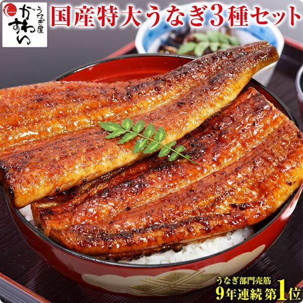 国産うなぎ蒲焼き3種セット