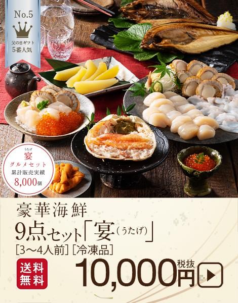 島の人 礼文島の四季・豪華海鮮9点セット宴 10,000円