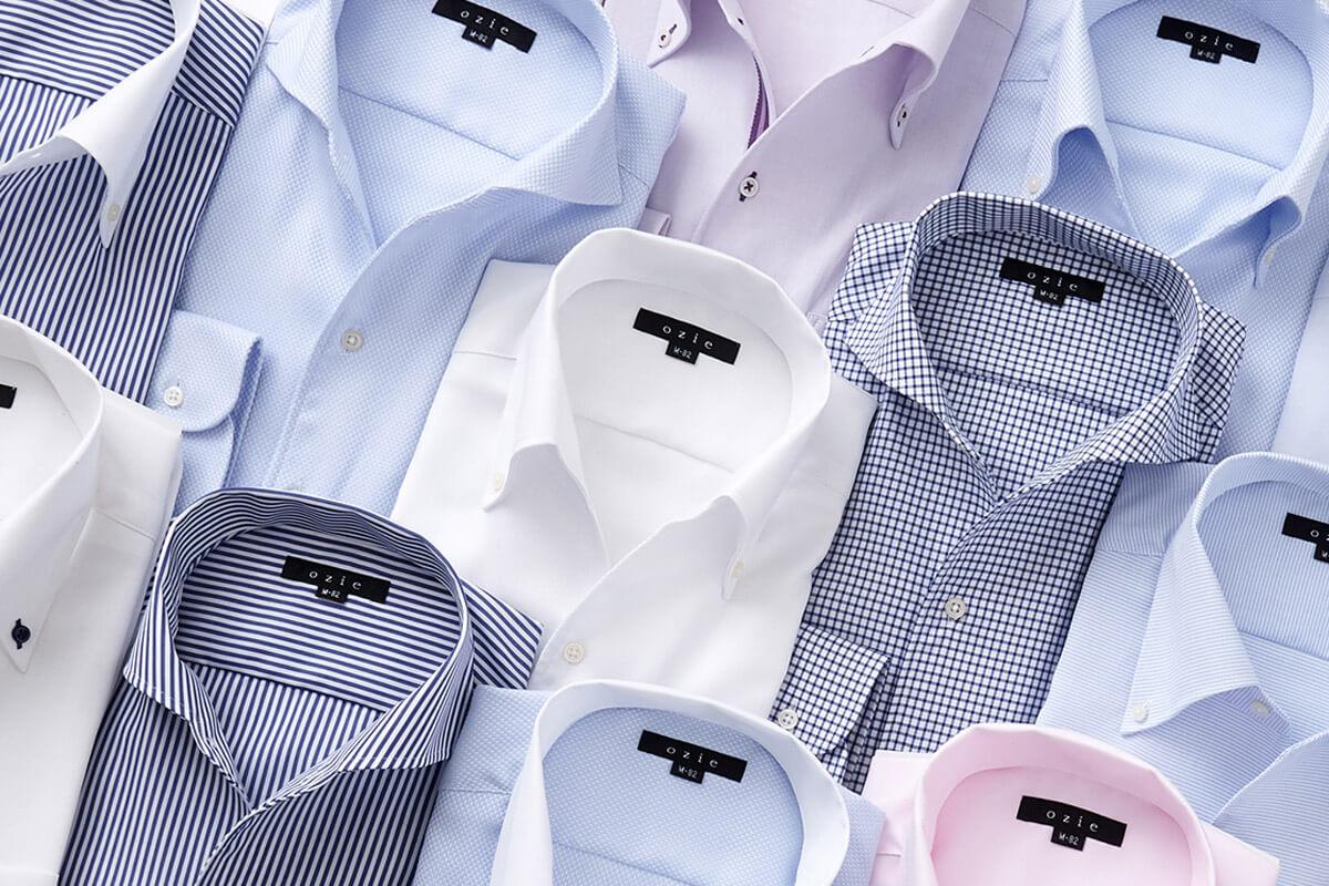 襟開きのきれいなノーネクタイ専用シャツ=イタリアンカラーシャツ(ワンピースカラーシャツ)